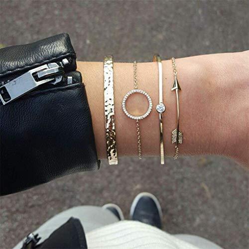 XINSU Home Punk Armband Kristall Runde Pfeil Bump Kette Armband Set Retro Legierung Einstellbar Multilayer für Frauen 4 Stücke Gold Farbe (Runde Armband Kristalle)