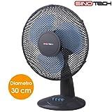 Ventilatore da Tavolo Appoggio Pala 30 cm 3 Velocità Oscillante Inclinazione Regolabile 45 Watt Griglia di Protezione a nido d'ape
