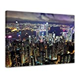 """Bilderdepot24 Leinwandbild """"Hong Kong city at night"""" - 80 x 60 cm 1 teilig - fertig gerahmt, direkt vom Hersteller"""