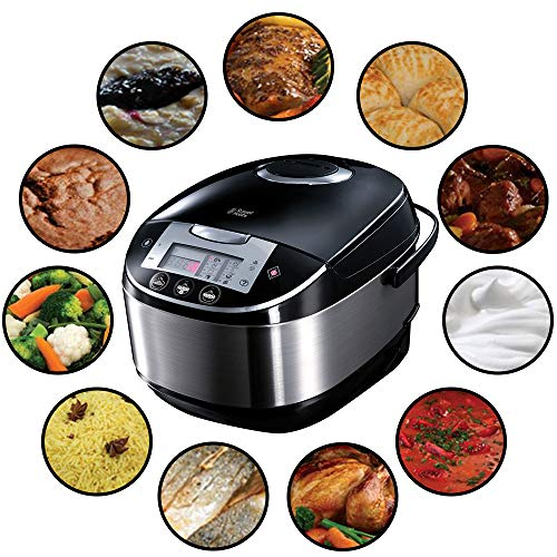 51IpJ7rNO%2BL. SS500  - Russell Hobbs 21850-56 Multicooker Cook @ Home, 11 Cooking Programs, Cooking Accessories, Anti-condensation Lid, 5.0l, 900 Watt, Stainless Steel / Black