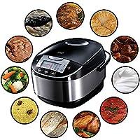Russell Hobbs 21850-56 Multicooker Cook, Home, 11 Programmes de cuisson, Accessoires de cuisson, Couvercle anti-condensation, 5.0 L, 900 Watts, Acier inoxydable/Noir