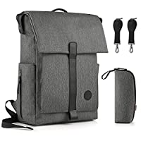 GAGAKU Large Diaper Backpack for Dad Updated Edition Nappy Bag with 15 Pockets �?? Heater Grey