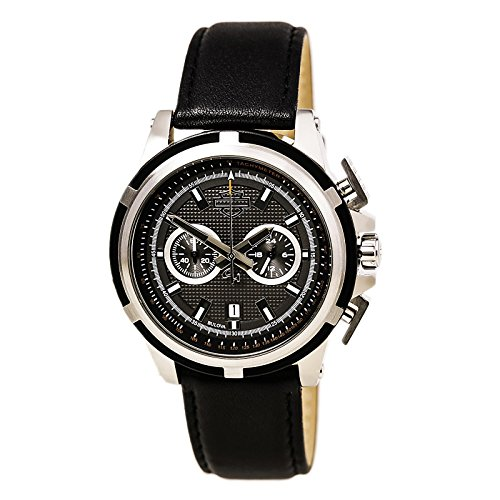 Harley Davidson 76B168 Men's Bulova Chronograph Grey Dial Black Leather Strap Watch