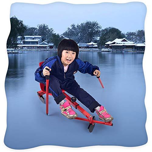 Gaozh Schlitten Schlittschuhlaufen Und Skifahren Rodel Für Kinder Winter Skifahren,Red