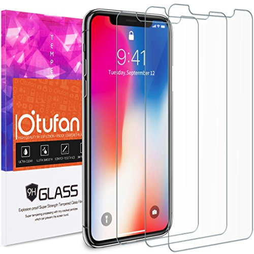 [3 PACK] iPhone X Screen Protector, Otufan Tempered Glass Screen Protector for Apple iPhone X,Case Friendly, Anti-Scratch (bianco) bianco