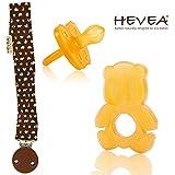 HEVEA Beißring Panda Shape & Schnuller (rund) 3-36 Mo. in Bio-Qualität // Naturkautschuk natural rubber // Hevea Schnullerhalter aus 100% Bio-Baumwolle mit Namensschild