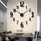 Aemember Wall Mount_Amazon Acryl Spiegel Große Wanduhr Wohnzimmer Silent Clock Diy Wall-Clock, Schwarz G016