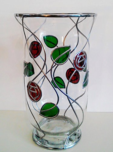 Ruby Red And Green Mackintosh Style Hurricane Candle/flower Glass Vase. With Art Nouveau / Art Deco Influence, A Special Present Or House Warming Gift