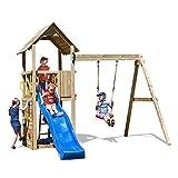 Fungoo Spielturm Carol 2 Premium Kletterturm Garten mit Holzdach inkl. Bodenanker Schaukel Blaue Rutsche Kletterwand Holz
