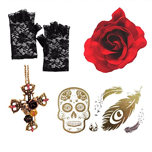 day-of-dead-gothic-red-rose-cross-necklace-lace-gloves-sugar-skull-tattoo