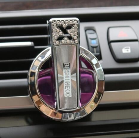 Bluelover Auto Parfüm Luftreiniger Auto Lufterfrischer Liquid Diffusor Dashboard Clip Diamant Dekor - Lila