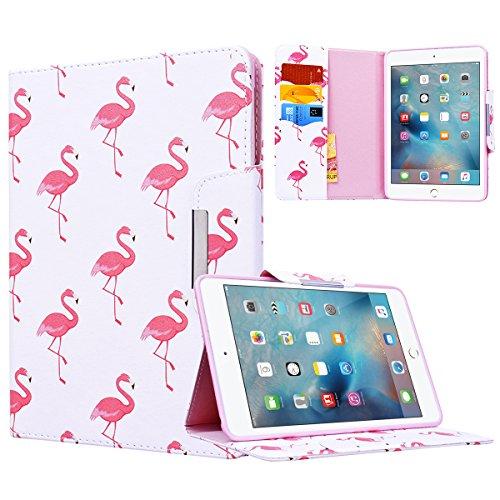 Yokata Apple iPad Mini 1 / Mini2 / Mini3 Hülle Case Schutzhülle Tasche mit Standfunktion und Auto Sleep / Wake Up Funktion Slim Ultra Dünn Hochwertiges PU Leder Etui Ledertasche für iPad Mini 1 / Mini2 / Mini3 (7,9 Zoll) Tablet Etui - Roter Flamingo