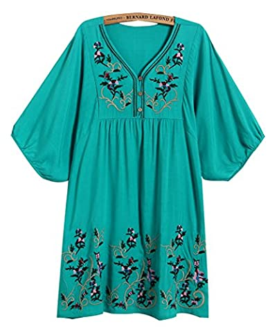 Xinqiao Women's T-shirt Tunic Dresses Mexican Embroidered Peasant Tops Blouses (Blue)