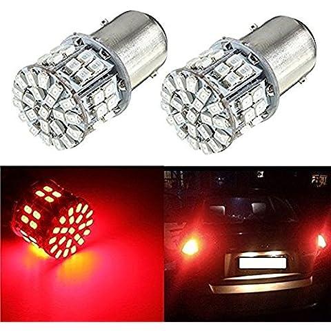 katur 2pcs 1157BAY15D 50LED SMD coche Auto Rojo Cola Parada de freno Luces de estacionamiento lámpara bombilla DC12V