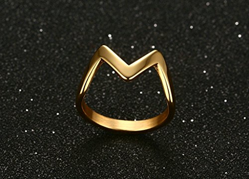 Epinki 3MM Stainless Steel Ring, Gold Plated Women Letter M Shape