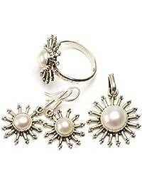 """stargems (TM) Natural Río perla Conjunto de joyería de plata de ley 925diseño único colgante 11/4""""; Anillo 8; Pendientes 11/4"""""""