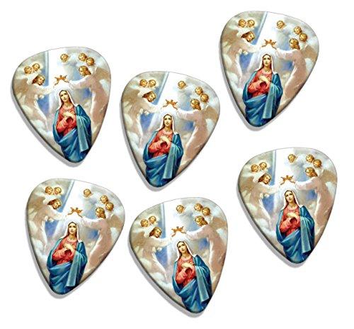 virgin-mary-christian-6-x-puas-para-guitarra-presentadas-correa-de-distribucion-trapezoidal-en-logo-