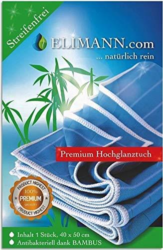 Elimann® Bambus Tuch Reinigung Hochglanz für Glas/Spiegel/Scheiben/Besteck/Brillen/Autos/Bad/Möbel STREIFENFREIEN FUSSELFREIEN Glanz für alle glatten FLÄCHEN. Nass- und Trockenreinigung