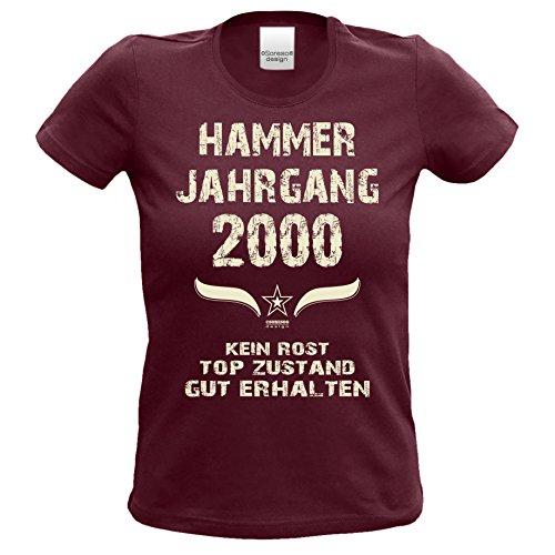 Geschenk Zum 18. Geburtstag :-: Damen T-Shirt Hammer Jahrgang 2000 :-: Als Geschenkidee für Teenager Frauen Farbe: Burgund Gr: S