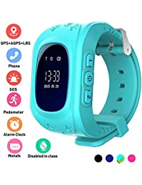 Kids Smartwatch GPS Tracker Anti-Lost Wrist SIM SOS Call Voice Chat Phone Pedometer by Parent Control iOS Android Smartphone App (Palmtalkhome Q50) (Blue)