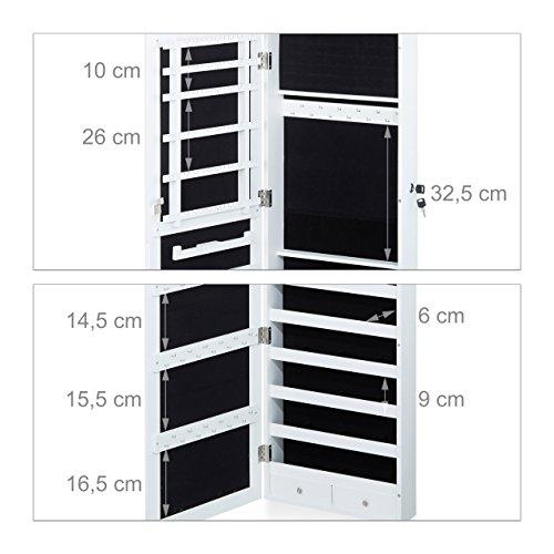 Relaxdays Schmuckschrank Spiegel zum Stellen, Schmuckkasten abschließbar, Spiegelschrank LED, HBT: 151x46x36,5 cm, weiß - 4