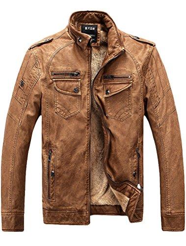 MatchLife Herren PU Leder Biker Fleece Mantel Style1 Brown L