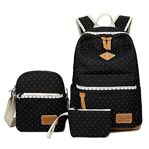 Neuleben Schulrucksack + Schultertasche + Geldbörse 3 Set aus Canvas für Mädchen Damen (Schwarz)