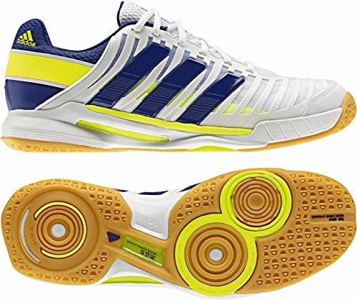 Adidas Adi Power Stabil 10.1 G96426, Handball Homme Blanc/Bleu marine/Jaune fluo