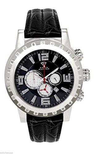 Aqua Master hombres del caso Diamond plateado bisel blanco cuero banda cronógrafo reloj W138