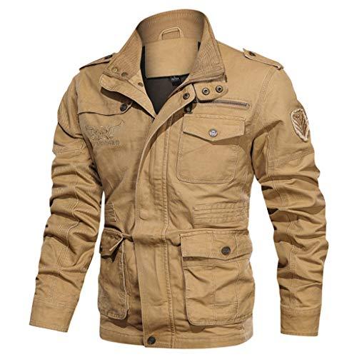 Vintage Fieldjacket Herren Winterjacke mit Muti-Pocket,Kanpola Blousonjacke Stehkragen Britania Jacke Outdoor Cargojacke