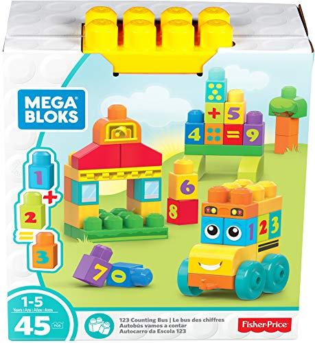 Mega Bloks Le Bus des Chiffres, briques et jeu de construction, 45 pièces, jouet pour bébé et enfant de 1 à 5 ans, FBM80