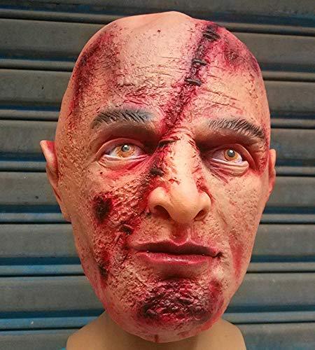 Littlefairy Maske,Halloween Horror Latex Maske Narbe faulen Gesicht voll Perücke Alien Zombie Latex Perücke