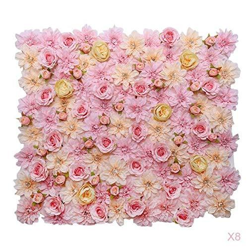 LOVIVER 8 Stü Künstliche Rose Flower Wall Panels, Hochzeitsort Hintergrund Hauptstraße Blumen Säule Dercoration Pink Champagne -