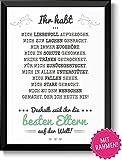 Beste Eltern mit Rahmen - Geschenk Geschenkidee Geburtstag Hochzeitstag Weihnachten Eltern Mama Papa Geburtstagsgeschenk Mutter Vater