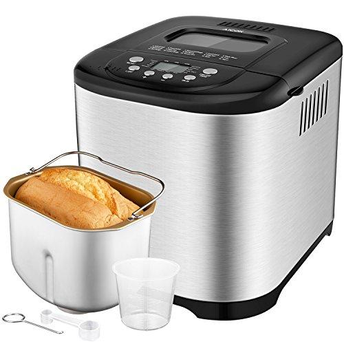 Aicok Macchina per il pane, cestino in acciaio inossidabile con capacità di 1 Kg e 15 diverse impostazioni programmabili, timer con ritardo di 15 ore