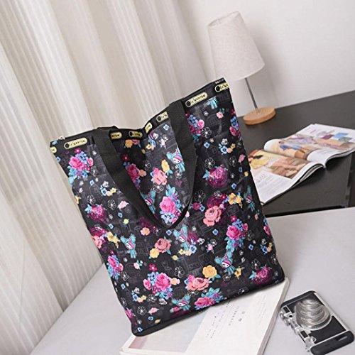 BZLine® Frauen Leinwand Große Kapazitäts-Segeltuch-Strand-Tasche Handtasche B