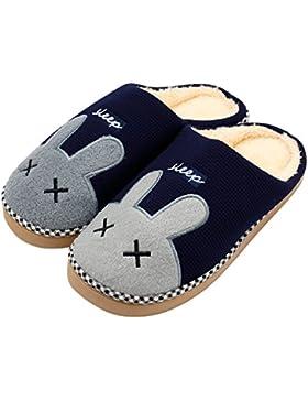Hausschuhe, Baumwolle Pantoffeln, Nette Karikatur Rabbit Hausschuhe/Slippers, CIDBEST® Winter Wärme Plüsch-Hausschuhe...