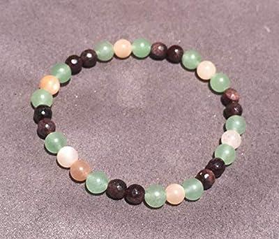 bracelet BOOST d'ENERGIE Vitalité Grenat, Sunstone et Aventurine perle de pierre naturelle semi précieuse