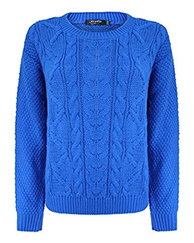 Generation Fashion New Ladies Women Knitted Cable Crew Neck Long