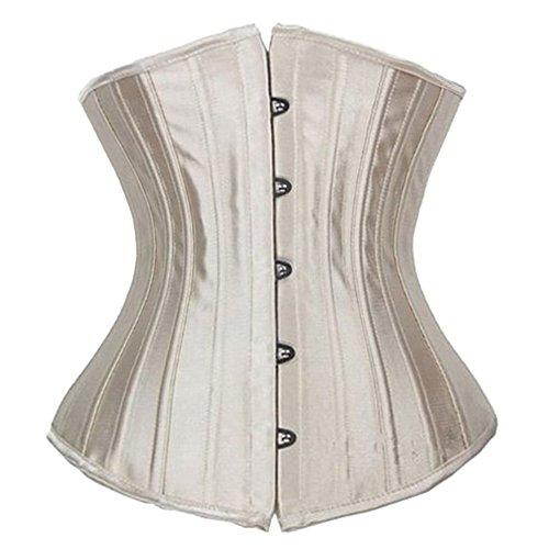 MISS MOLY da donna Corsetto Modellante Waist Training Bustino con 26 ossa in acciaio Beige