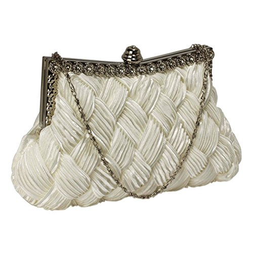ivory-satin-cross-pleated-clutch-bag-top-snap-closure-accented-by-crystal-party-bridal-wedding-prom