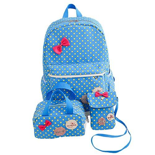 Kangrunmy Zaino da viaggio Bag Donne Bambine Dots bowknot nylon scuola + borsa + Shoulder Bag 1Set Blu