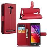 Guran Housse En Cuir pour Asus ZenFone 2 Laser ZE550KL (5,0 pouces) Smartphone Flip Cover Etui Debout Fonction et Fente Porte-cartes Cas-rouge