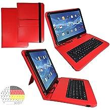 Onda V919Air–Teclado alemán Tablet Funda con función atril–9.7pulgadas rojo teclado