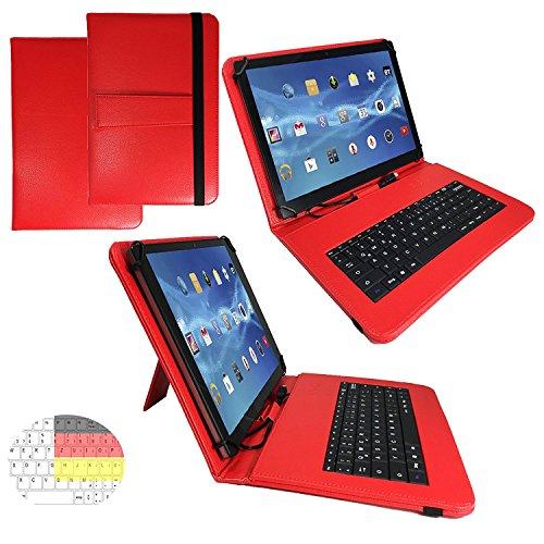 Allview Viva H1001 LTE - Qwertz Tastatur Tablet Tasche 10.1 mit Standfunktion - Deutsche Tastenbelegung - 10.1 Zoll Rot Tastatur