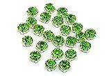 Eimass Strasssteine zum Aufnähen/Aufkleben, geschliffenes Glas, silber- & goldfarben, Peridot Green in Silver Casing, 5mm (ss25)