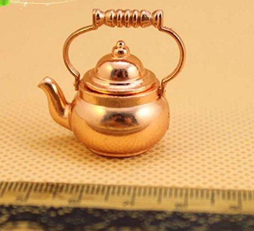 Nalmatoionme 1: 12scale Dollhouse Water Kettle pot (dorato)
