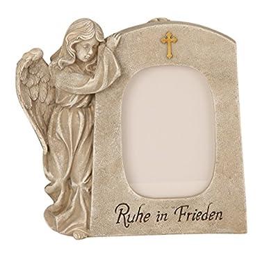 Engel mit Fotorahmen Grabdeko Trauerengel Grabschmuck *Ruhe in Frieden* beige-antik, ca. 21