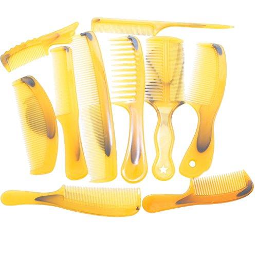 Leisial 10 Pcs/Set Mode Peignes à Cheveux en Plastique de Jaune pour Salon de Coiffure et Maison