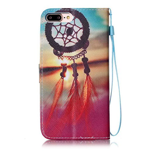 Ledowp Apple iPhone 7 Plus custodia portafoglio, copertura integrale design pattern custodia in similpelle di copertura con slot per schede per iPhone 7 Plus multicolore Wind Chime #6 Wind Chime #7